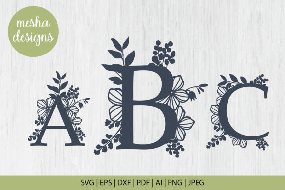 Download Free Botanical Letters Cut Files Graphic By Diycuttingfiles for Cricut Explore, Silhouette and other cutting machines.