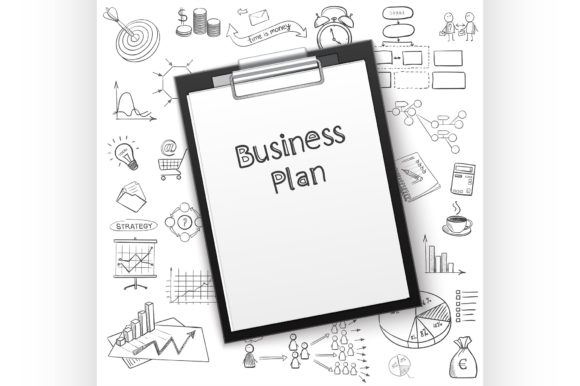 Business Plan on Tablet with Paper Graphic Illustrations By netkov1