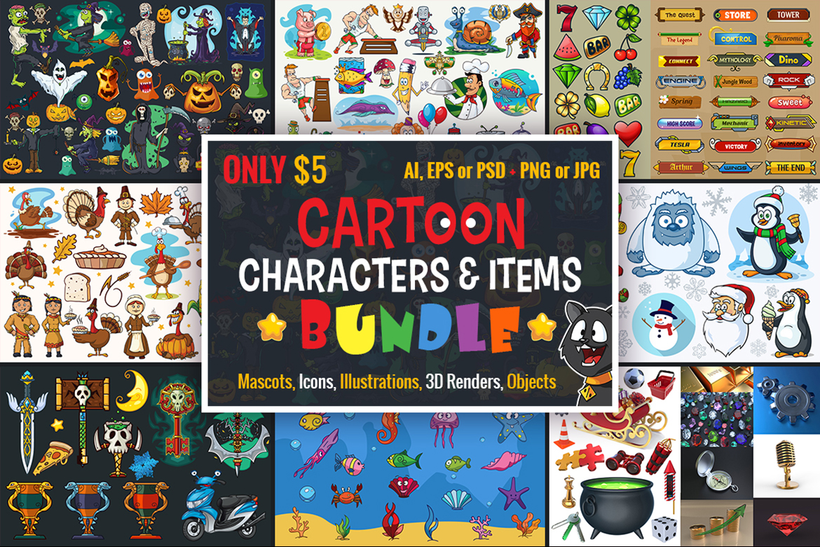 Download Free Cartoon Characters Items Bundle Graphic By Pixaroma Creative for Cricut Explore, Silhouette and other cutting machines.