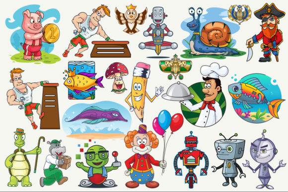 Cartoon Characters & Items Bundle Graphic Design