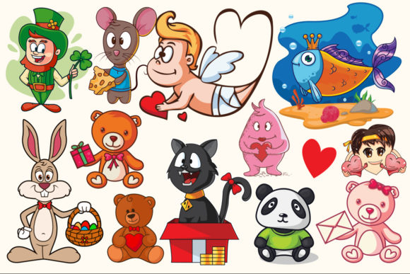 Cartoon Characters & Items Bundle Graphic Preview