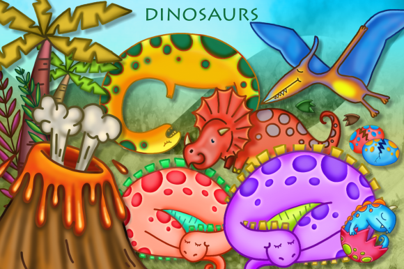 Print on Demand: Cartoon Dinosaur Scene Making Clipart Graphic Illustrations By Prawny