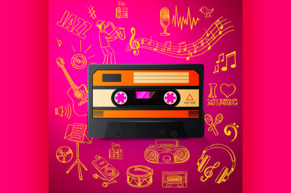 Download Free Cassette And Hand Draw Music Icon Graphic By Netkov1 Creative for Cricut Explore, Silhouette and other cutting machines.