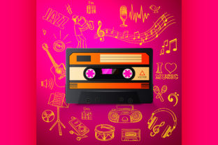 Cassette and Hand Draw Music Icon Graphic Illustrations By netkov1