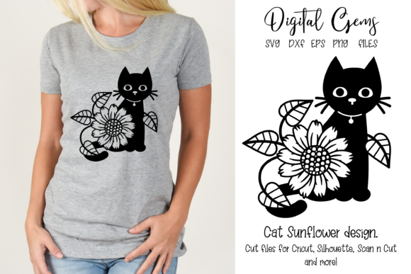Download Free Cat Sunflower Design Graphic By Digital Gems Creative Fabrica for Cricut Explore, Silhouette and other cutting machines.