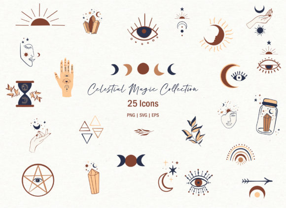 Celestial Magic Clipart Set Graphic Illustrations By EssentiallyNomadic