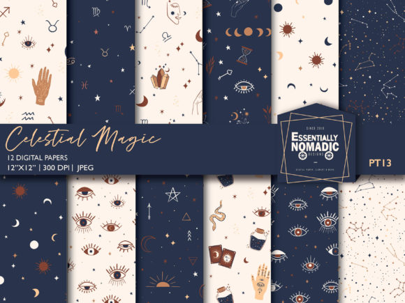 Download Free Celestial Mystical Digital Paper Pack Graphic By for Cricut Explore, Silhouette and other cutting machines.
