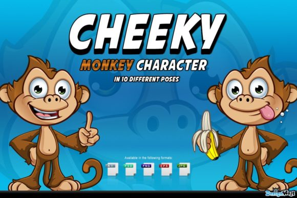 Download Free Cheeky Monkey Character Graphic By Designwolf Creative Fabrica for Cricut Explore, Silhouette and other cutting machines.