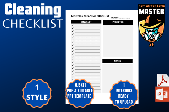 Print on Demand: Cleaning Checklist (planner) Graphic KDP Interiors By KDP_Interiors_Master