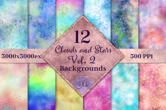 Print on Demand: Clouds and Stars Vol. 2 Backgrounds Gráfico Fondos Por SapphireXDesigns