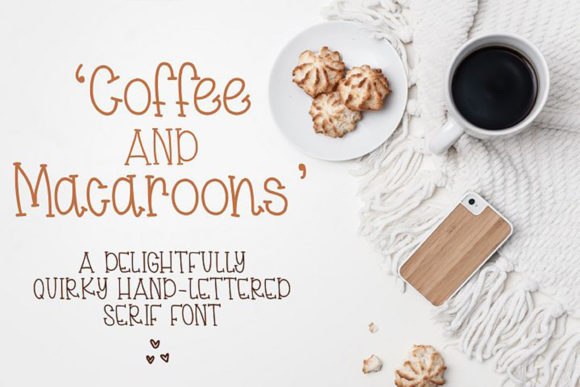 Print on Demand: Coffee & Macaroons Display Font By Dez Custom Creations