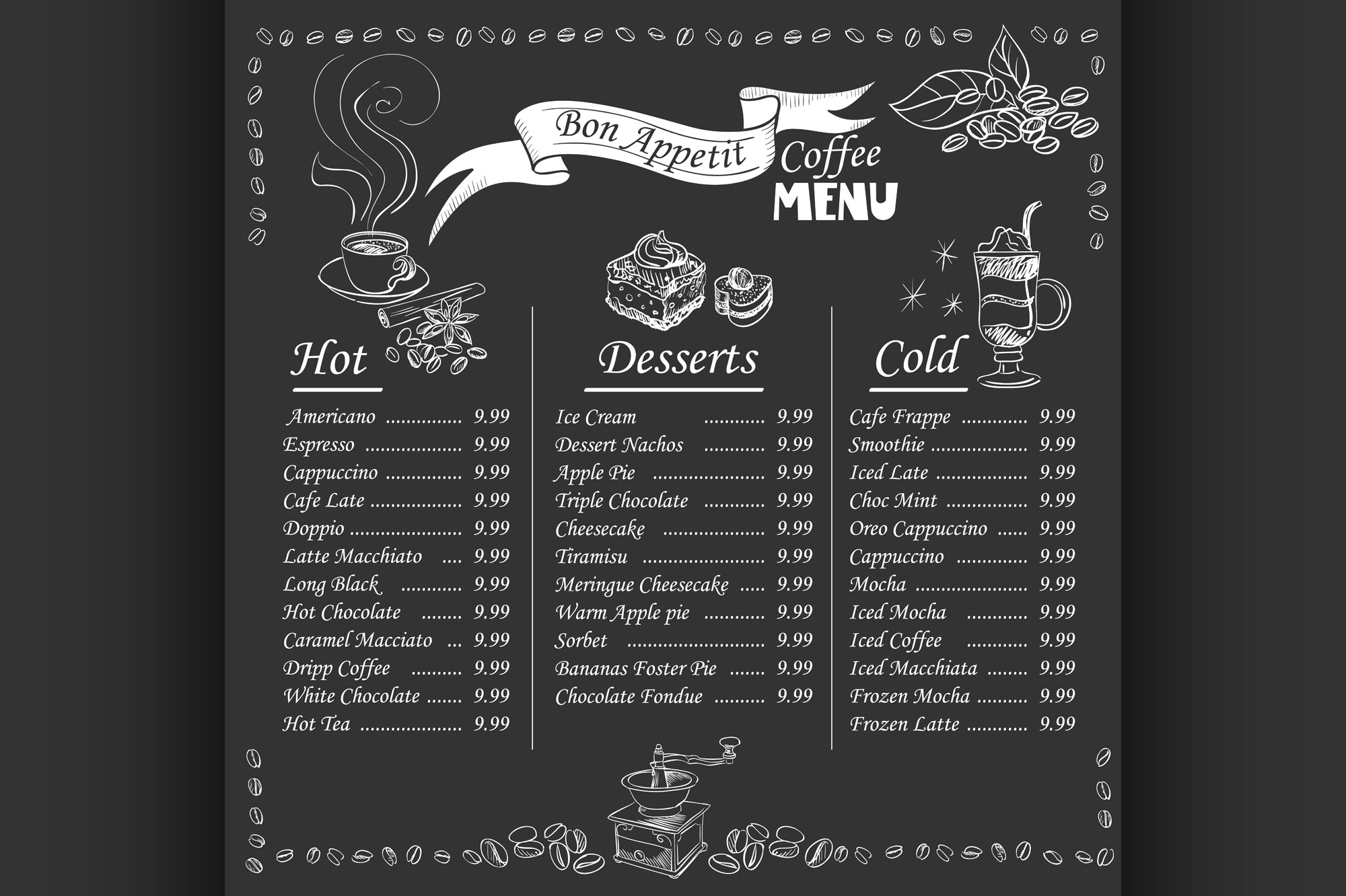 Download Free Coffee Menu On Chalkboard Graphic By Netkov1 Creative Fabrica for Cricut Explore, Silhouette and other cutting machines.