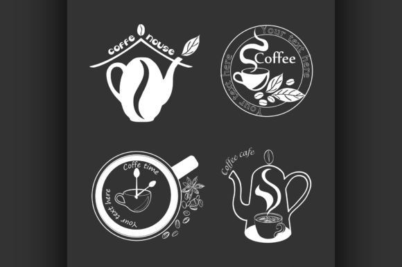 Coffee Retro Vintage Labels Logo Graphic Illustrations By netkov1