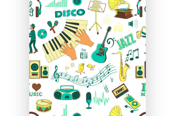 Download Free Colored Hand Draw Music Pattern Graphic By Netkov1 Creative for Cricut Explore, Silhouette and other cutting machines.