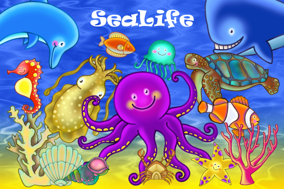Print on Demand: Cute Cartoon Underwater Sea Life Clipart Graphic Illustrations By Prawny