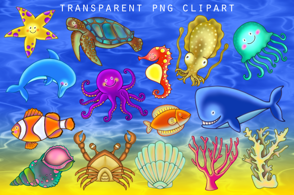 Print on Demand: Cute Cartoon Underwater Sea Life Clipart Graphic Illustrations By Prawny - Image 2