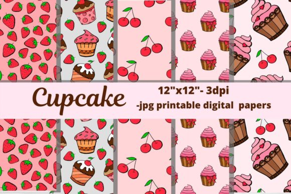 Download Free Dessert Cupcake Patterns Patterns Graphic By Magic World Of for Cricut Explore, Silhouette and other cutting machines.