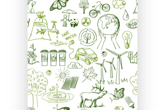 Ecology Signs and Icons Seamless Pattern Graphic Illustrations By netkov1