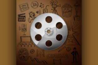 Film Reel and Hand Draw Cinema Icon Graphic Illustrations By netkov1