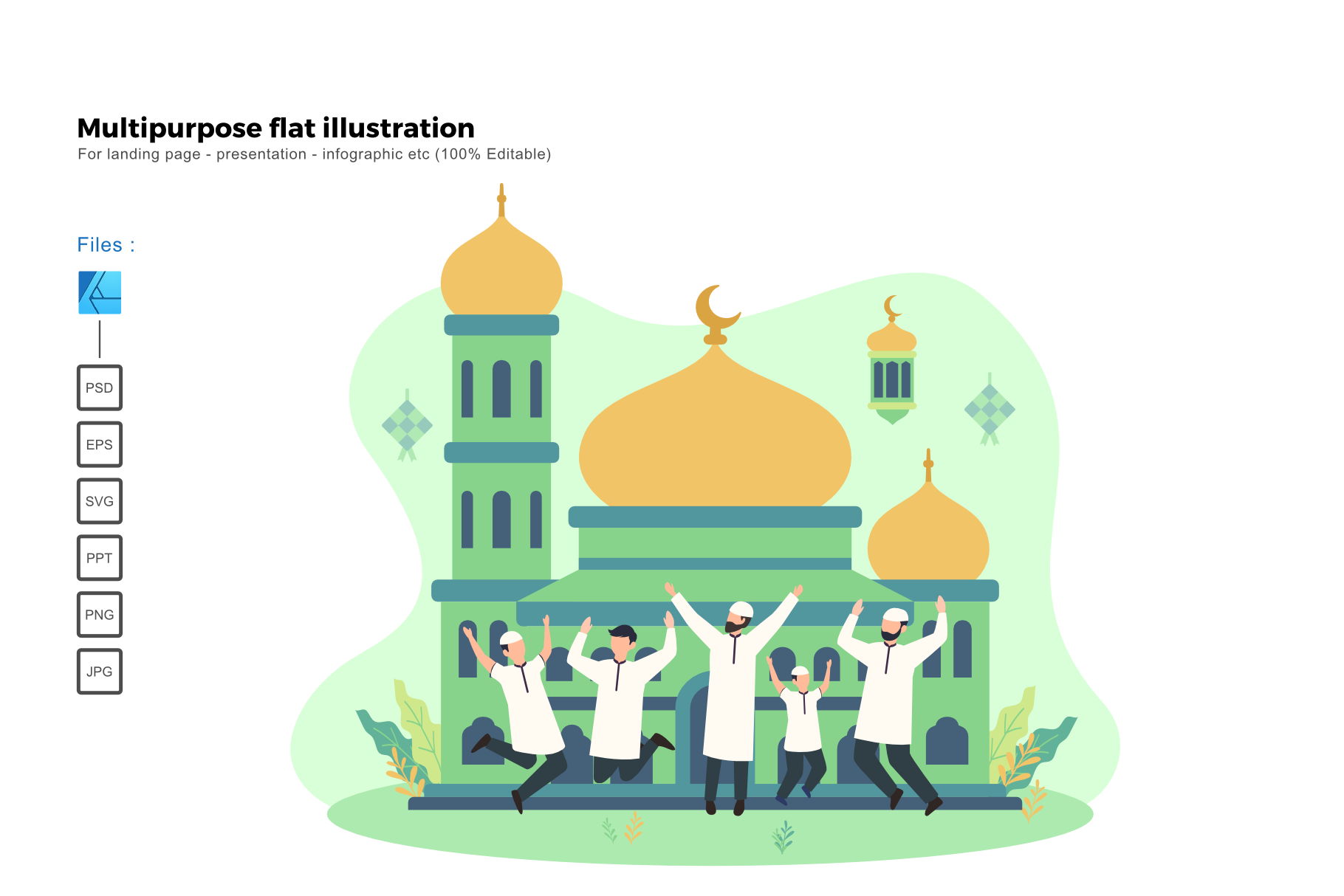 Download Free Flat Illustration Ied Mubarak 1441h Graphic By Rivatxfz for Cricut Explore, Silhouette and other cutting machines.