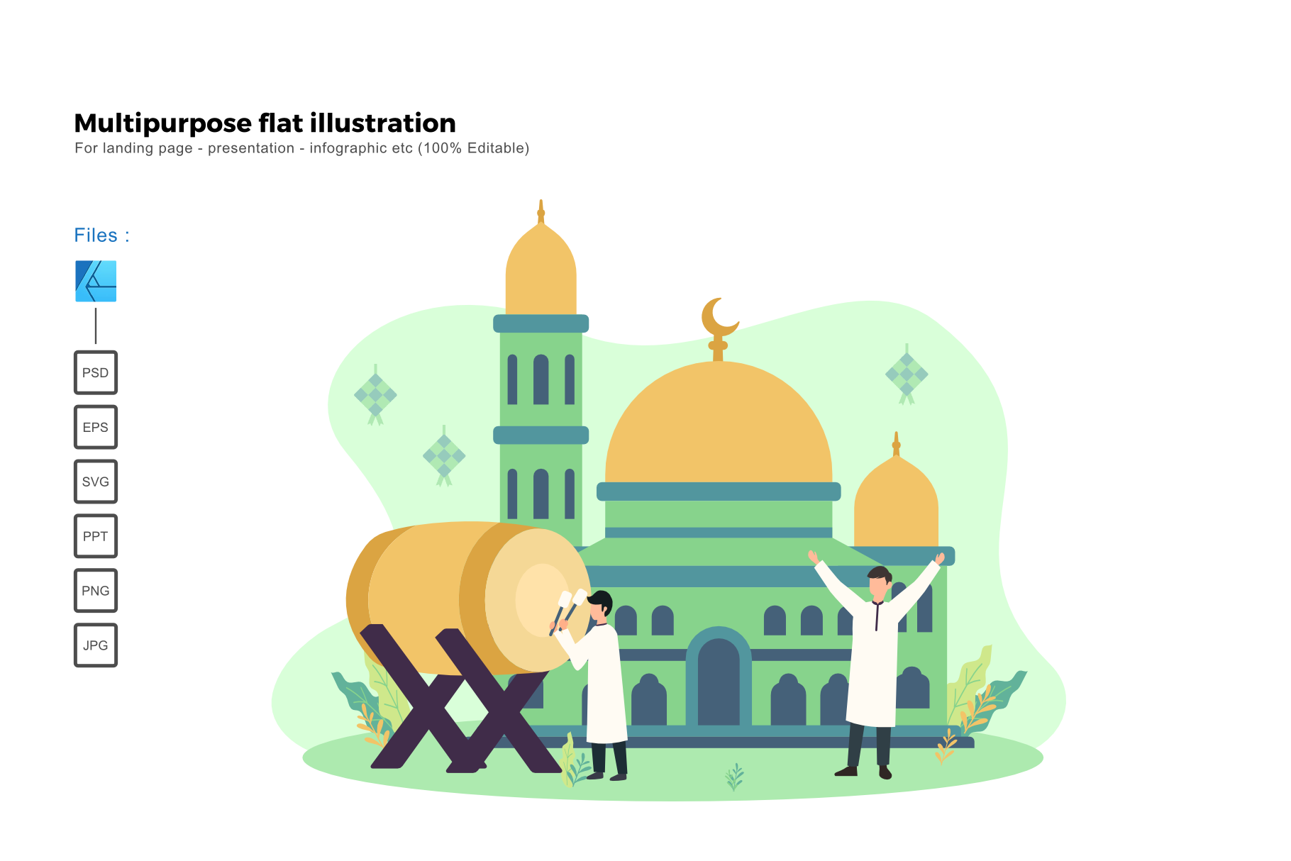 Download Free Flat Illustration Ied Mubarak 2020 Graphic By Rivatxfz for Cricut Explore, Silhouette and other cutting machines.
