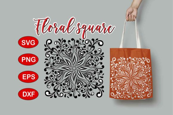 Print on Demand: Floral Square Design Graphic Crafts By Eva Barabasne Olasz