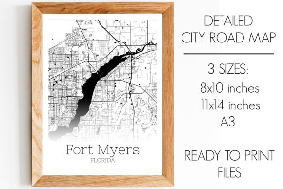 Print on Demand: Fort Myers Florida City Map Graphic Photos By SVGExpress