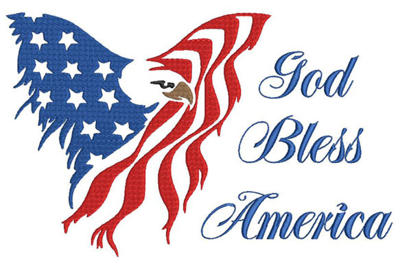 Print on Demand: God Bless America Independence Day Embroidery Design By Embroidery Shelter - Image 1