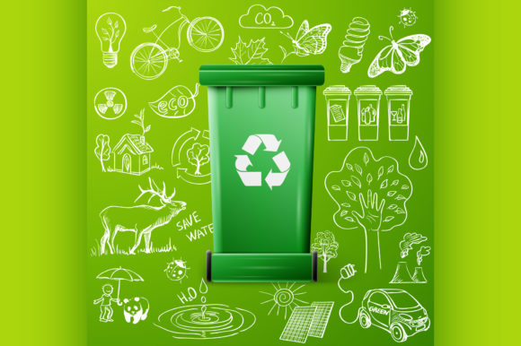 Download Free Green Recycle Bin And Ecology Doodle Graphic By Netkov1 for Cricut Explore, Silhouette and other cutting machines.