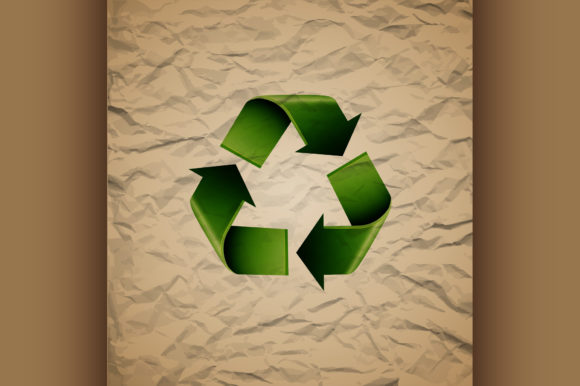 Download Free Green Recycle Symbol On Crumpled Graphic By Netkov1 Creative for Cricut Explore, Silhouette and other cutting machines.