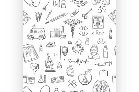 Download Free Hand Draw Medicine Pattern Graphic By Netkov1 Creative Fabrica for Cricut Explore, Silhouette and other cutting machines.