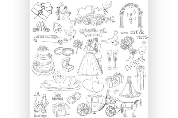 Download Free Hand Drawn Collection Of Decorative Graphic By Netkov1 for Cricut Explore, Silhouette and other cutting machines.