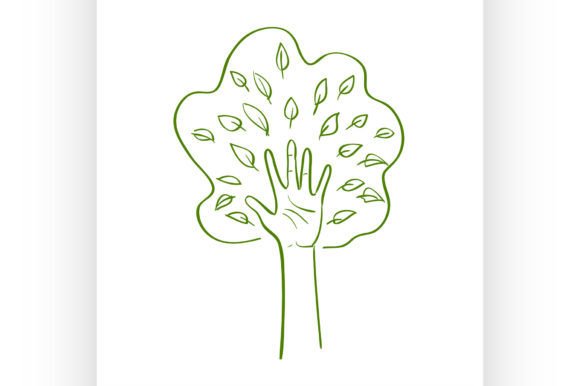 Download Free Hand Forming A Tree With Leaves Graphic By Netkov1 Creative for Cricut Explore, Silhouette and other cutting machines.