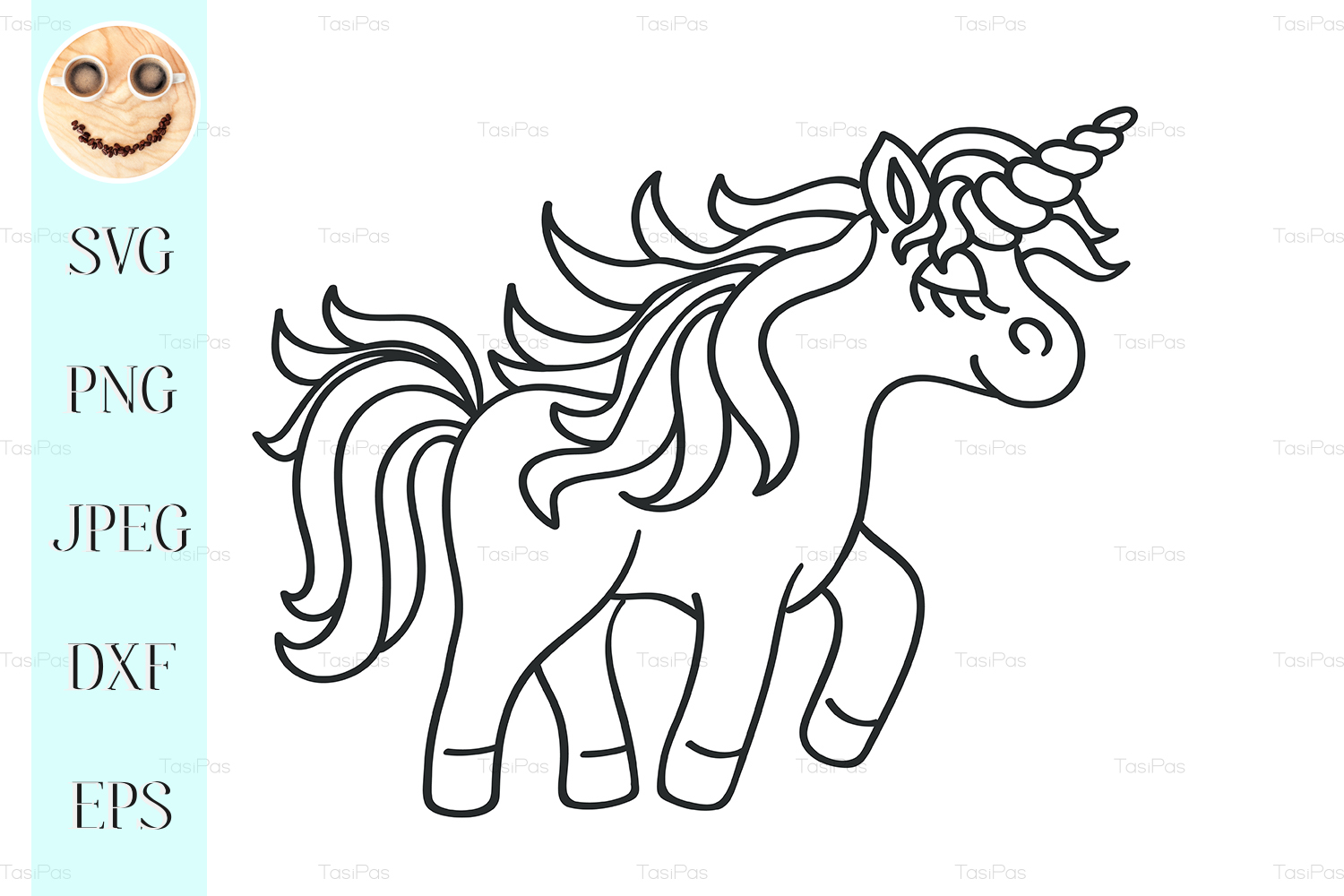 Hand Drawing Outline Walking Unicorn Graphic By Tasipas