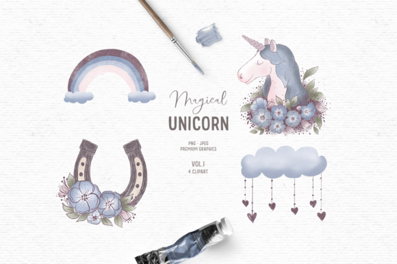 Print on Demand: Hand-drawn Unicorn Clipart Graphic Illustrations By Wallifyer