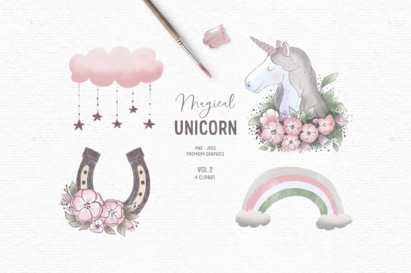 Print on Demand: Hand-drawn Unicorn Clipart in Pink Graphic Illustrations By Wallifyer