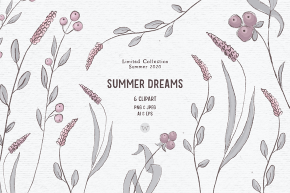Print on Demand: Hand-drawn Wildflower Clipart in Pink Graphic Illustrations By Wallifyer