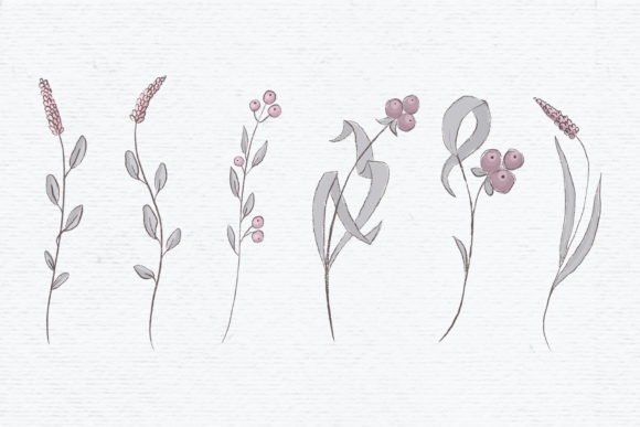 Download Free Hand Drawn Wildflower Clipart In Pink Graphic By Wallifyer for Cricut Explore, Silhouette and other cutting machines.