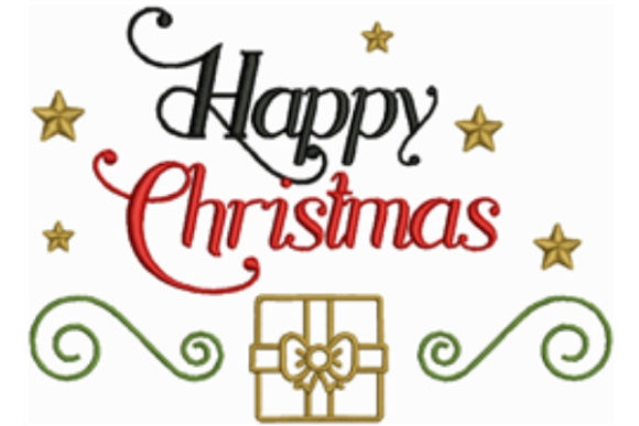 Happy Christmas Christmas Embroidery Design By designsbymira