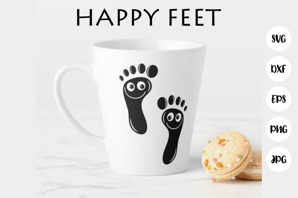 Download Free Happy Feet Cut File Graphic By Prawny Creative Fabrica for Cricut Explore, Silhouette and other cutting machines.
