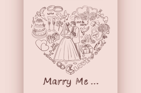 Heart Drawn on Sand with Marry Me Text Graphic Illustrations By netkov1