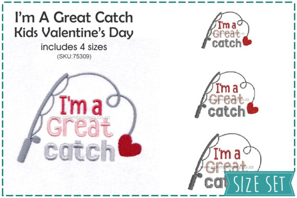 I'm a Great Catch Valentine's Valentine's Day Embroidery Design By CPEmbroidery Designs