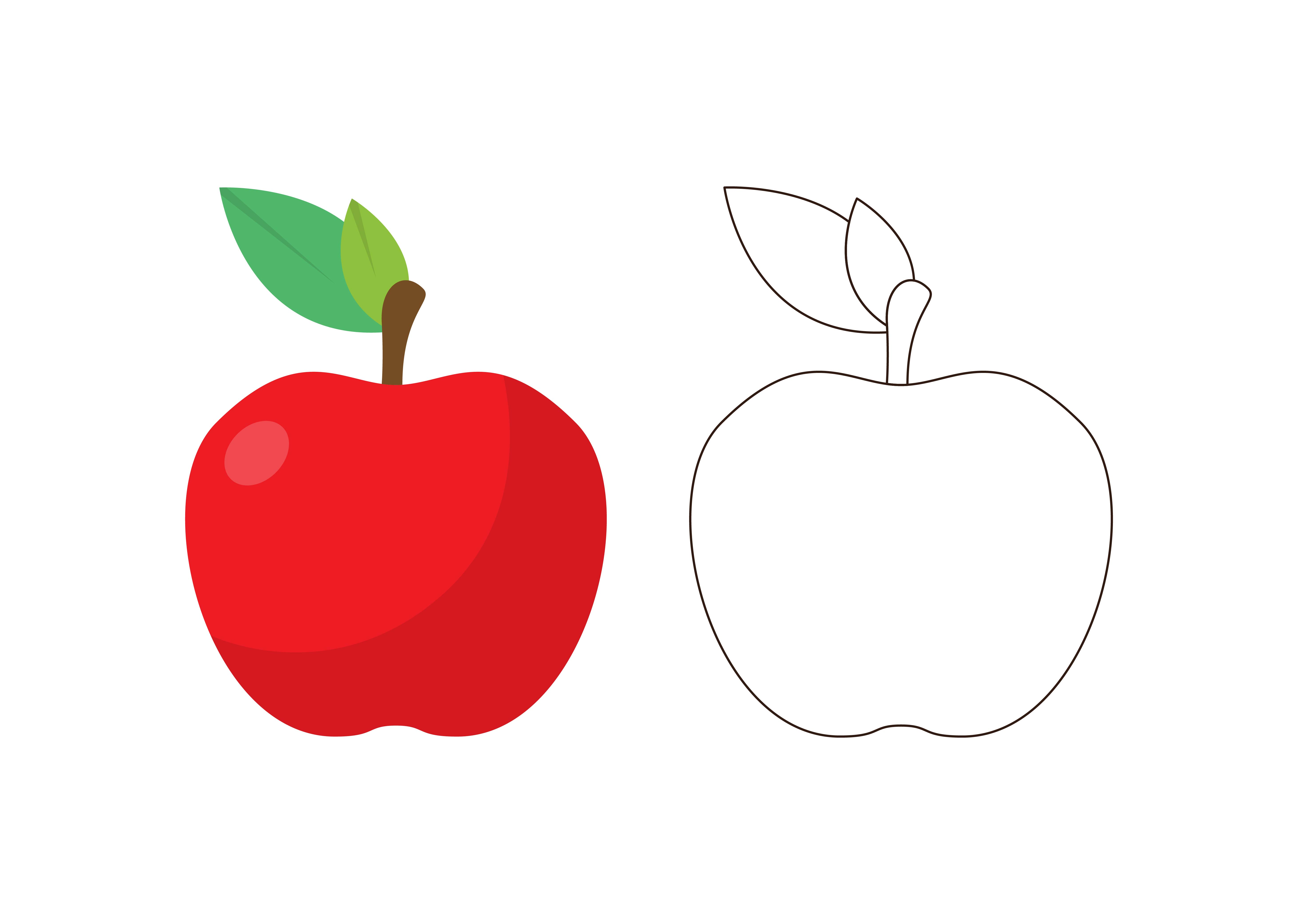 Download Free Kids Coloring Apple Graphic By Studioisamu Creative Fabrica for Cricut Explore, Silhouette and other cutting machines.