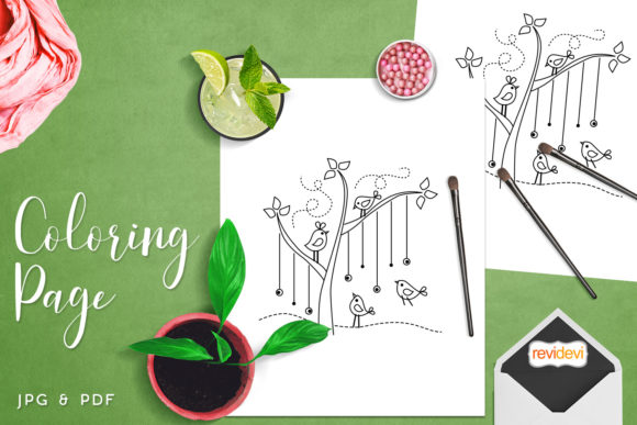 Download Free Little Birds Tree Coloring Graphic By Revidevi Creative Fabrica for Cricut Explore, Silhouette and other cutting machines.