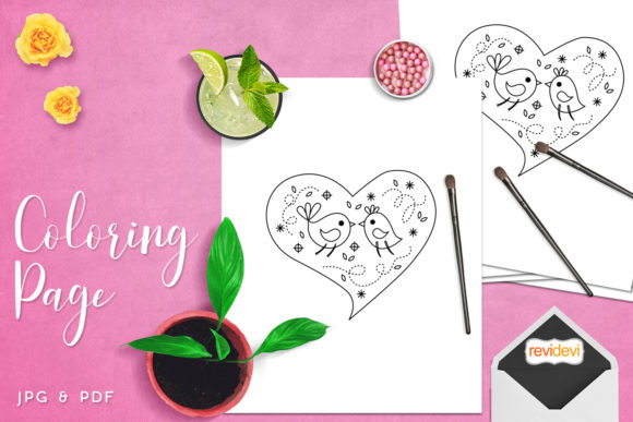 Download Free Love Birds Heart Coloring Graphic By Revidevi Creative Fabrica for Cricut Explore, Silhouette and other cutting machines.