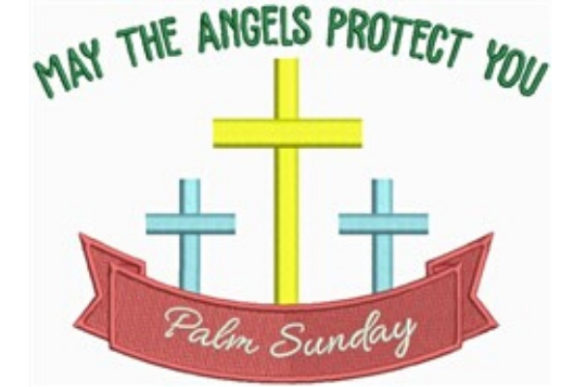 May the Angels Protect You Easter Embroidery Design By designsbymira