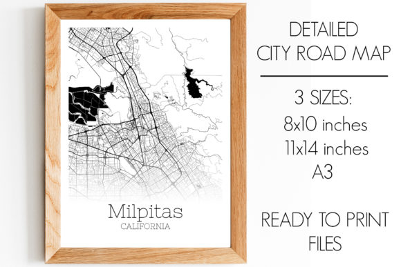 Print on Demand: Milpitas California City Map Graphic Photos By SVGExpress