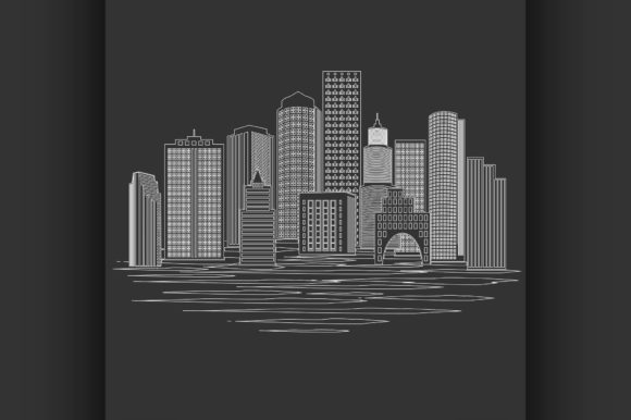 Download Free Modern City Skyline Graphic By Netkov1 Creative Fabrica for Cricut Explore, Silhouette and other cutting machines.