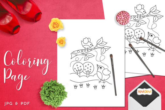 Download Free Mom And Little Bird Coloring Graphic By Revidevi Creative Fabrica for Cricut Explore, Silhouette and other cutting machines.