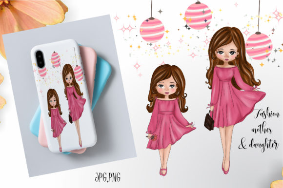 Mother's Day Fashion Cute Graphic Illustrations By Suda Digital Art
